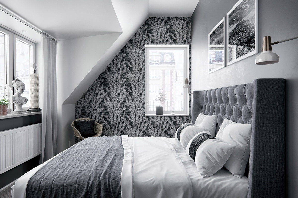 Siyah Beyaz Yatak Odası Dekorasyonu 2019